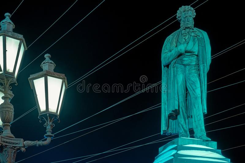 Depicts the poet A. S. Pushkin in the web of wires. stock photo