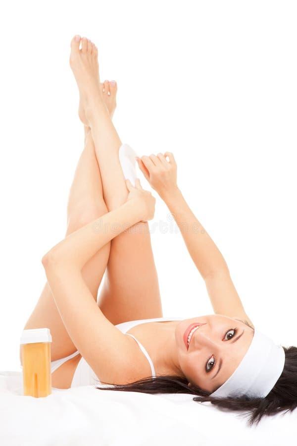 depilating женщина ног выражения стоковые изображения