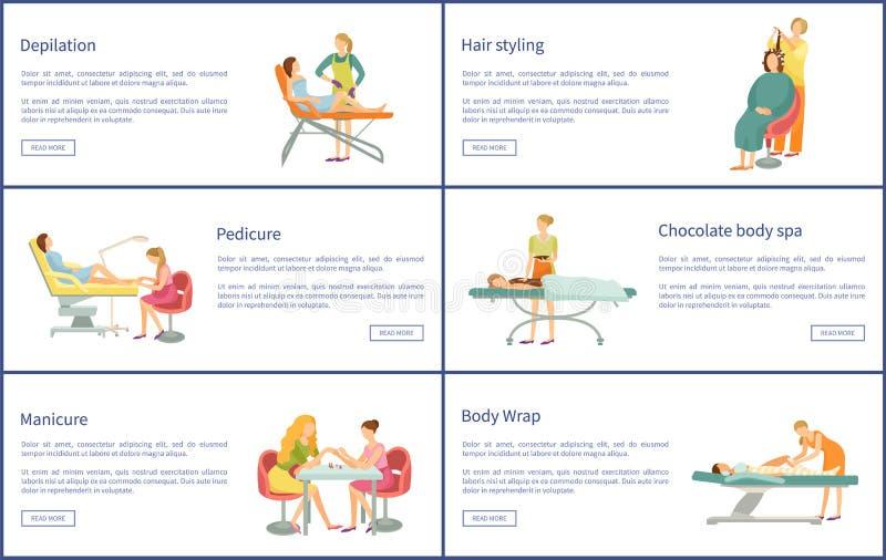 Depilation αφίσες μανικιούρ Pedicure καθορισμένες διανυσματικές απεικόνιση αποθεμάτων