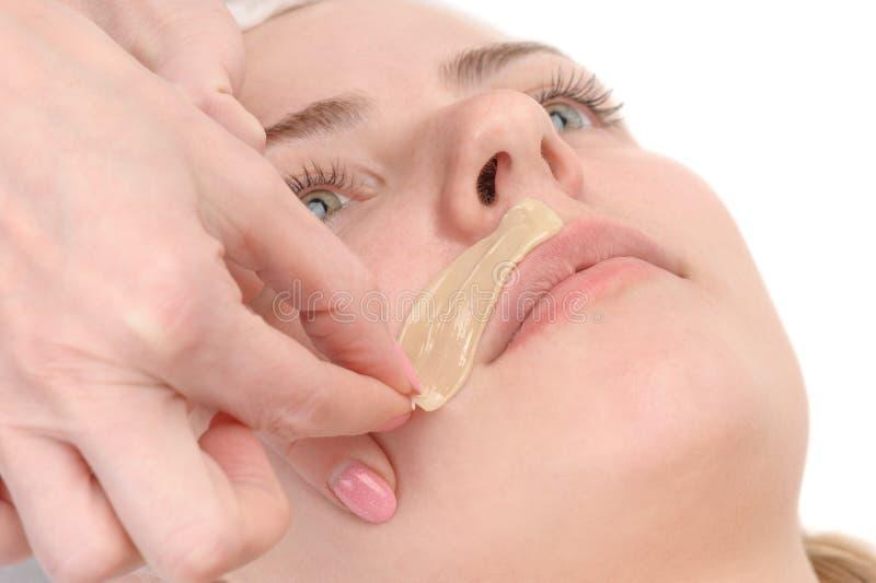 Depilazione femminile dei baffi fotografia stock