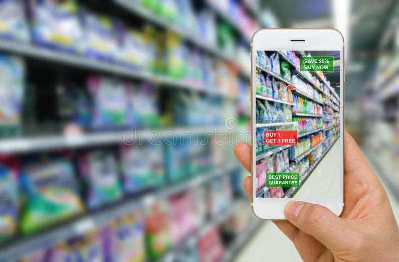 Deployment of Augmented Reality in Retail Business Concept in Supermarket for Discounted or on Sale Products. royalty free stock photography