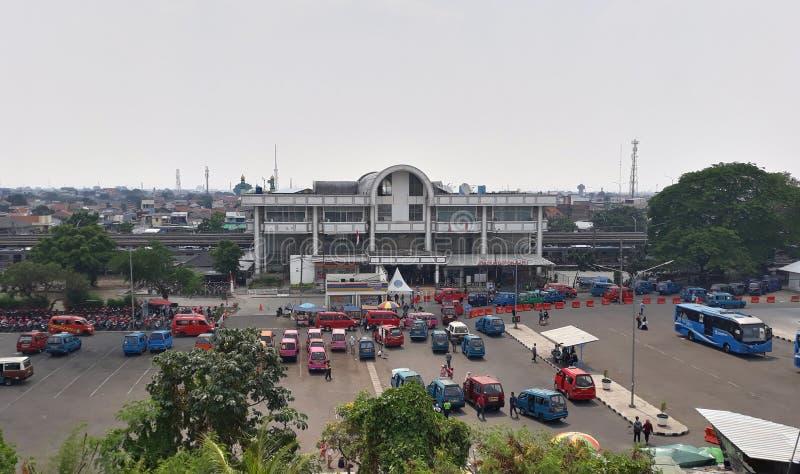 Depok Baru Station. Depok, Indonesia - September 21, 2019: View of Depok Baru Train Station seen from above royalty free stock photography