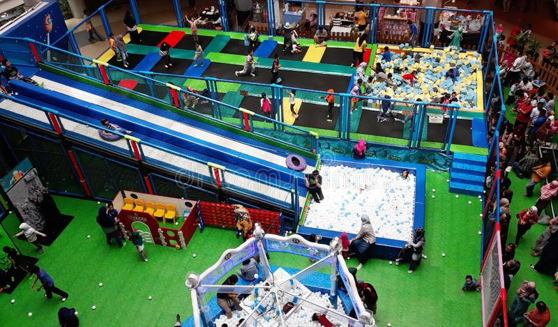 Playground in Mall. Depok, Indonesia - January 1, 2019: View of children playing in the playground of Margo City Mall stock image