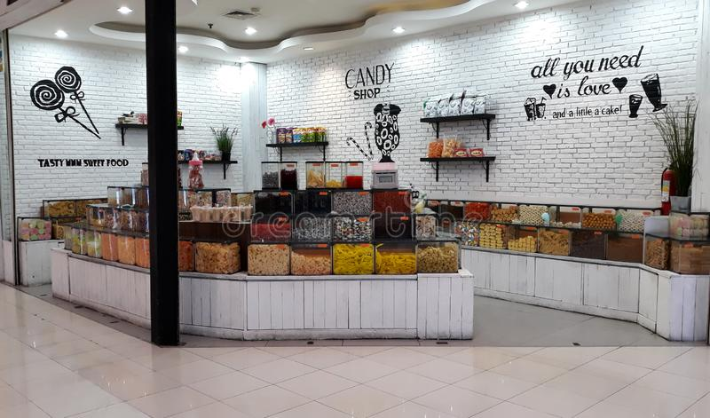 Snack Store. Depok, Indonesia - January 1, 2019: View of snack store in Margo City Mall, West Java stock images