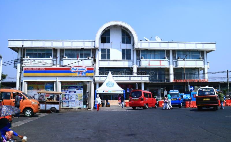 Depok Baru Train Station. Depok, Indonesia - October 1, 2019: View of Depok Baru Train Station Commuter Line in West Java royalty free stock images