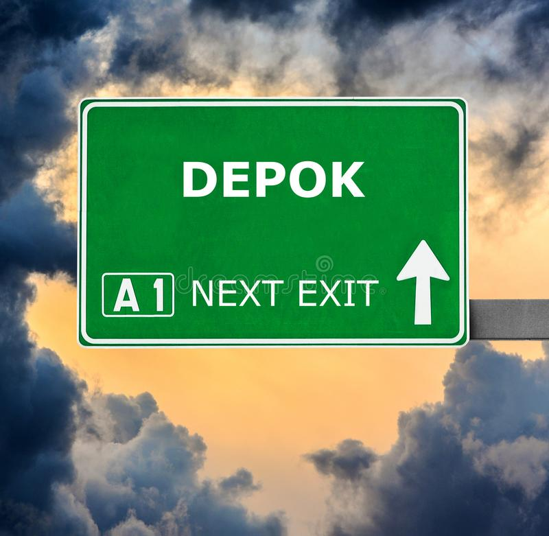 DEPOK road sign against clear blue sky royalty free stock photos