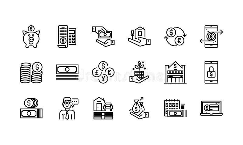 Deponować pieniądze i Finansowe ikony ilustracja wektor