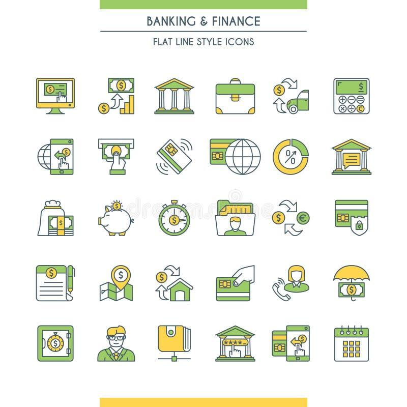 Deponować pieniądze i finansowe ikony ustawiający ilustracji