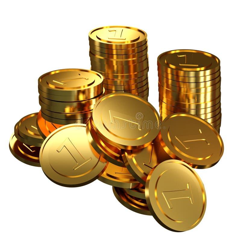Deponować pieniądze i finansowy pojęcie - Złociste monety odizolowywać na białym tle ilustracja 3 d, zdjęcia royalty free
