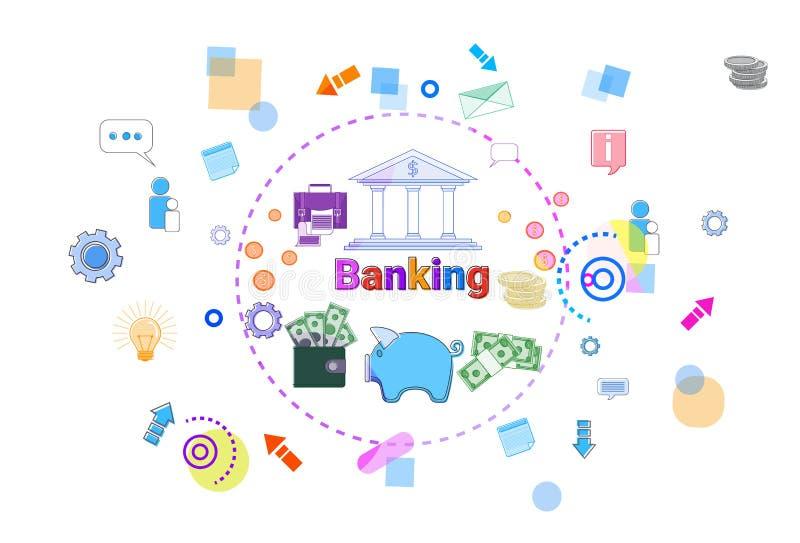 Deponować pieniądze Onlinego pojęcia Internetowego Mobilnego Płatniczego sztandar ilustracji