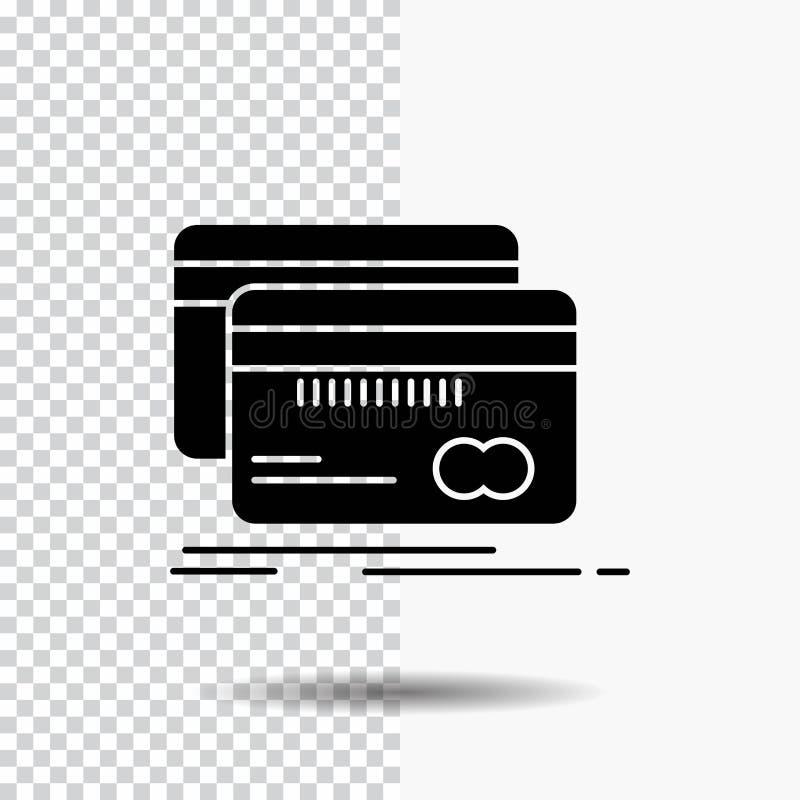 Deponujący pieniądze, karta, kredyt, debet, finansuje glif ikonę na Przejrzystym tle Czarna ikona royalty ilustracja