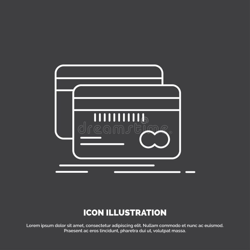 Deponujący pieniądze, karta, kredyt, debet, finansuje ikonę Kreskowy wektorowy symbol dla UI, UX, strona internetowa i wisz?cej o royalty ilustracja
