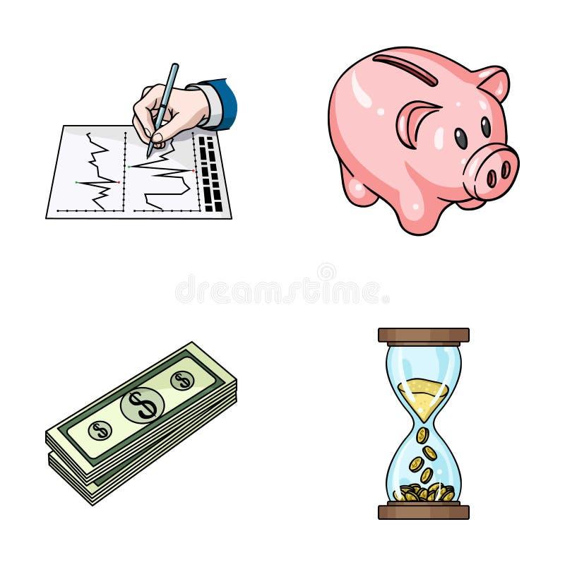 Deponuje pieniądze, biznesowy rozkład, plik notatki, czasu pieniądze Pieniądze i finanse ustalone inkasowe ikony w kreskówce proj royalty ilustracja