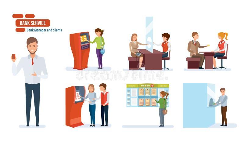 Deponuje pieniądze, finansuje, klienci, ludzie pracuje w biurze, pieniężny advisor, kasjery royalty ilustracja
