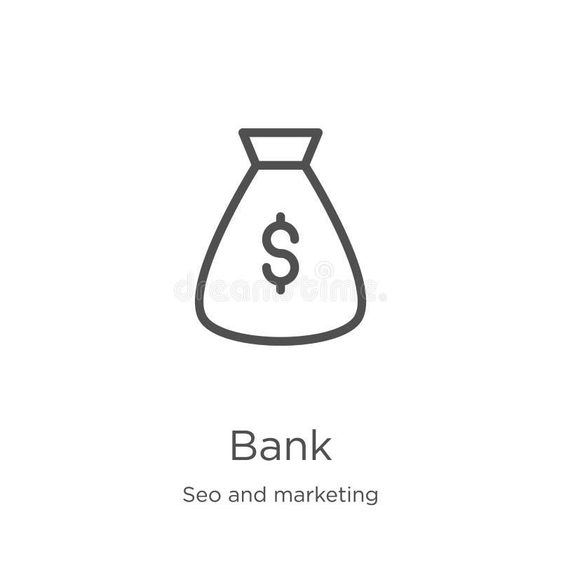 deponuje pieniądze ikona wektor od seo i marketingowej kolekcji Cienka kreskowa banka konturu ikony wektoru ilustracja Kontur, ci ilustracji