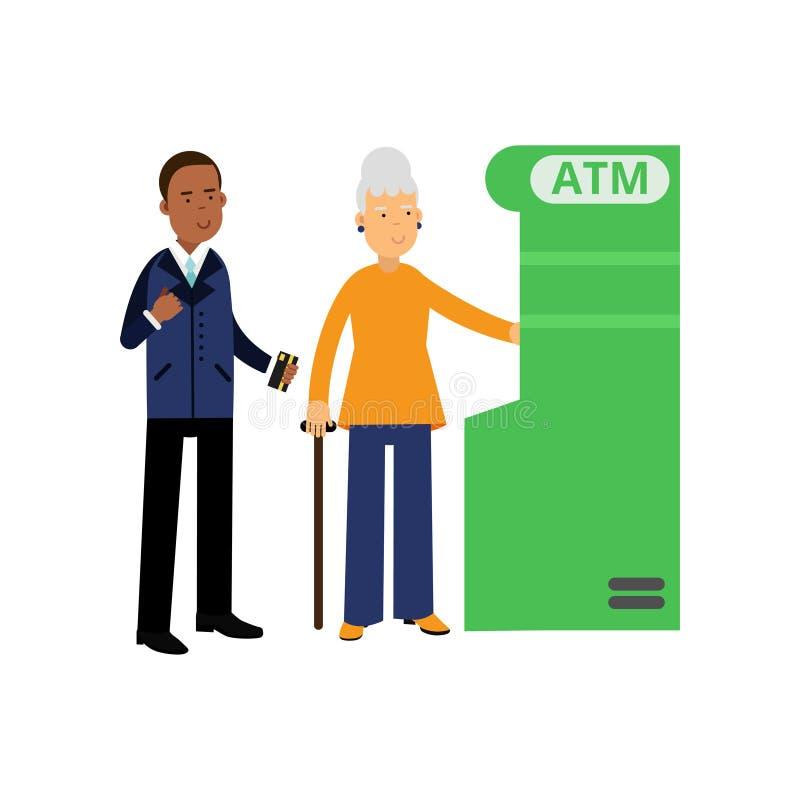 Deponuje pieniądze pracownika pomaga starszej kobiety używać ATM Murzyn w formalnym kostiumu Z włosami stara dama w pomarańczowym ilustracji