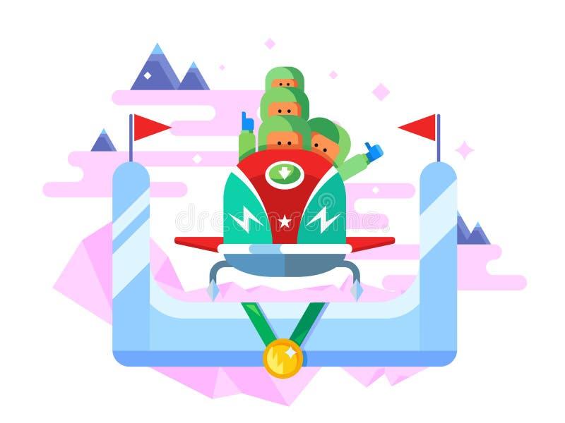 Deporte de invierno del trineo stock de ilustración
