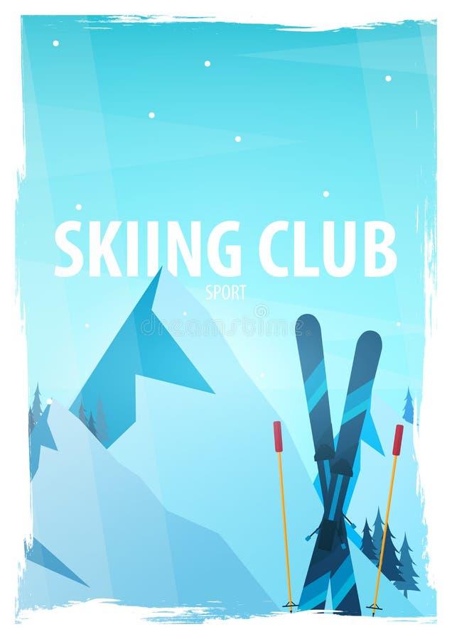 Deporte de invierno Esquí y Snowboard Paisaje de la montaña Snowboarder en el movimiento Ilustración del vector ilustración del vector