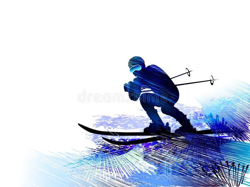 Deporte de invierno Hombre del esquí Ilustración del vector ilustración del vector