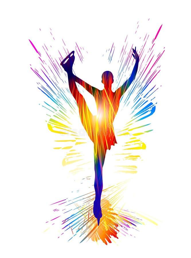 Deporte de invierno Patinaje artístico las señoras Ilustración del vector Mujer joven en pista de hielo libre illustration