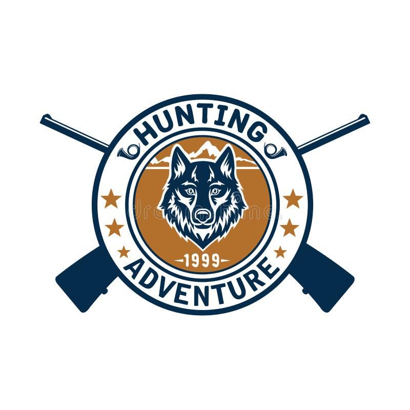 Deporte de la caza o club del cazador, icono del vector del lobo libre illustration