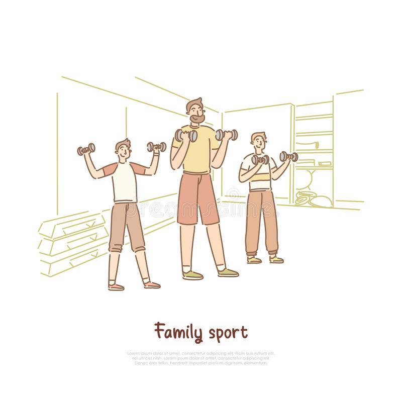 Deporte de la familia, padre con los hijos que levantan pesos, entrenamiento sano de la forma de vida, del padre y de los niños e ilustración del vector