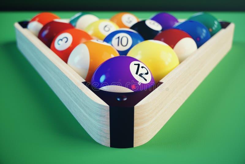 deporte de la reconstrucción del ejemplo 3D Bolas de billar con en la tabla de billares verde Concepto del deporte del billar Bil ilustración del vector