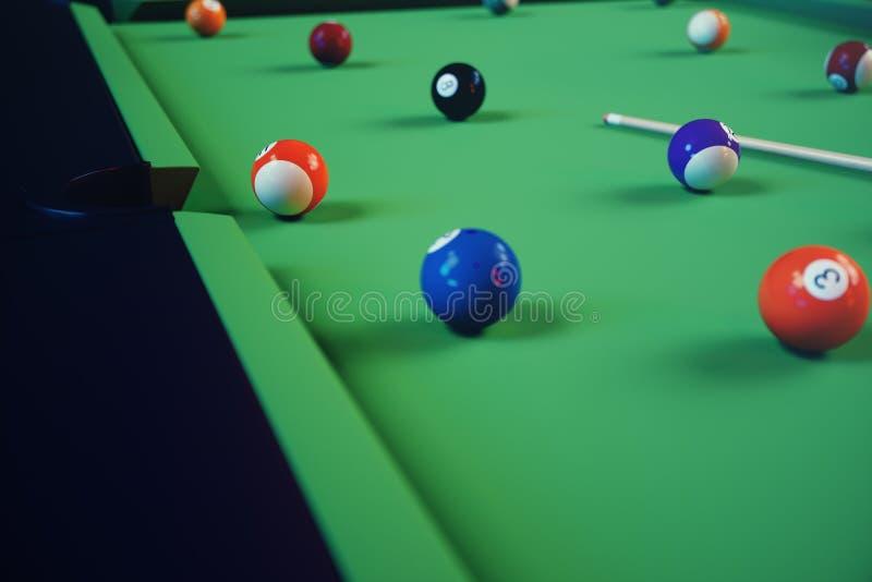 deporte de la reconstrucción del ejemplo 3D Bolas de billar con señal en la tabla de billares verde Concepto del deporte del bill ilustración del vector
