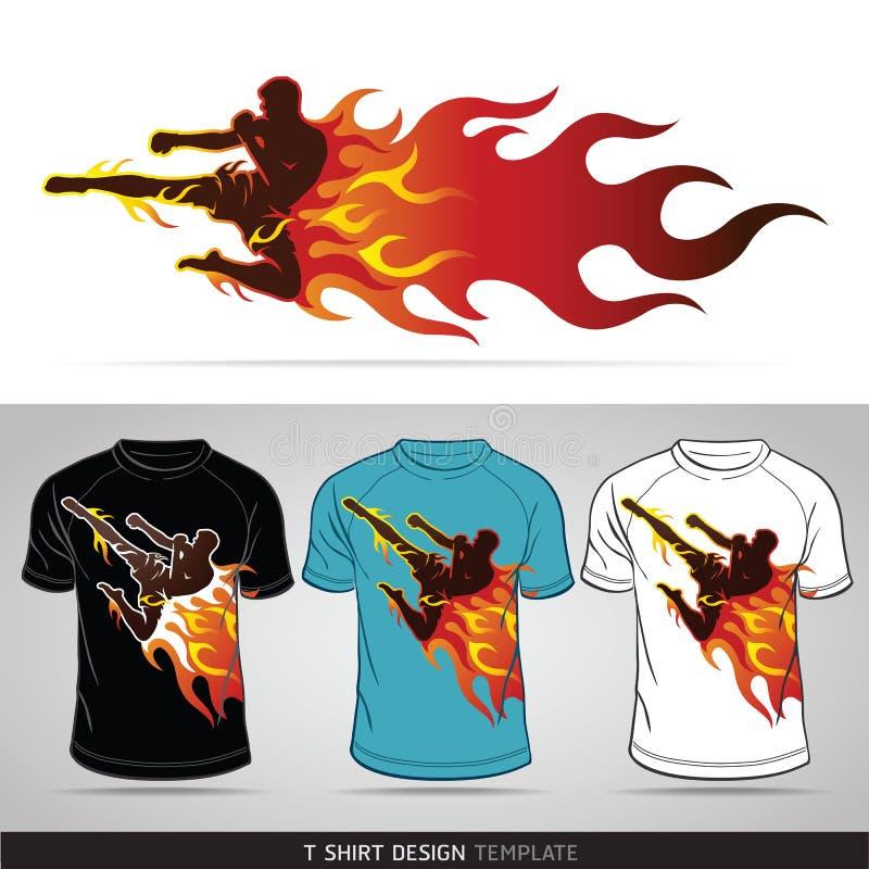 Deporte del boxeo con el fuego. Diseño de la camiseta. stock de ilustración