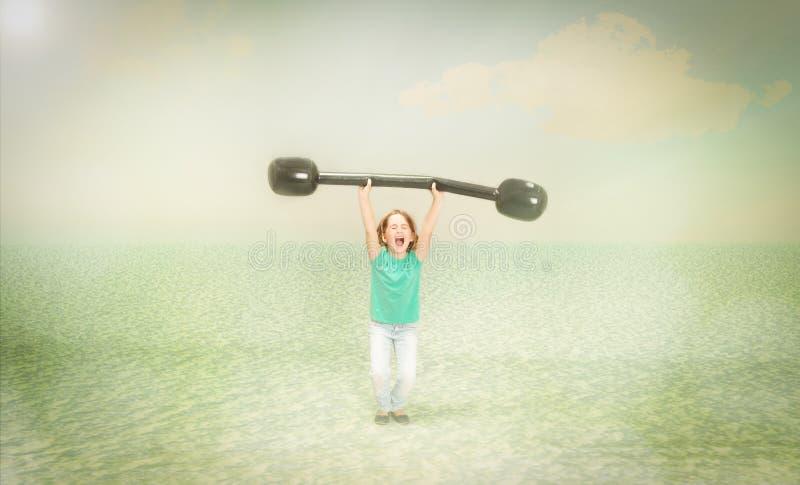 Deporte del levantamiento de pesas del niño fotos de archivo libres de regalías