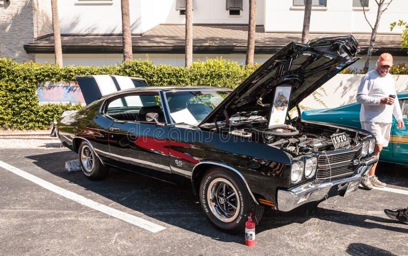 Deporte estupendo negro Chevrolet 1970 Chevelle en el Car Show cl?sico del 32do dep?sito anual de N?poles imagen de archivo libre de regalías