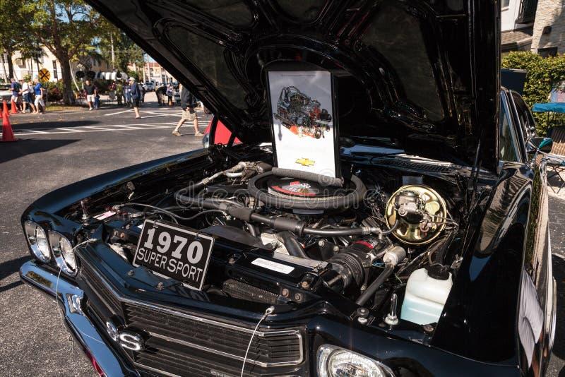 Deporte estupendo negro Chevrolet 1970 Chevelle en el Car Show cl?sico del 32do dep?sito anual de N?poles fotografía de archivo
