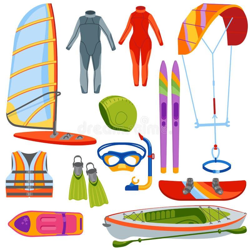 Deporte extremo kiteboarding, persona que practica surf del agua de la diversión libre illustration