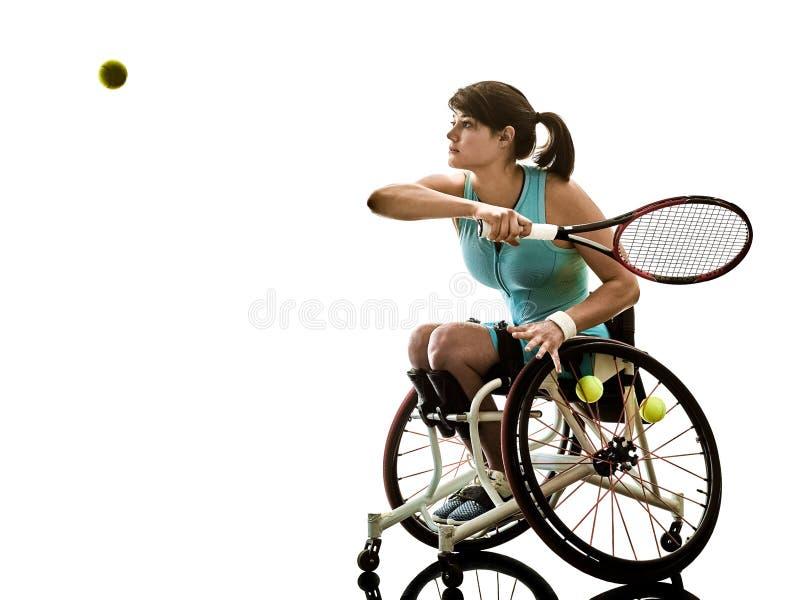 Deporte perjudicado joven de la silla de ruedas de la mujer del jugador de tenis aislado imagen de archivo