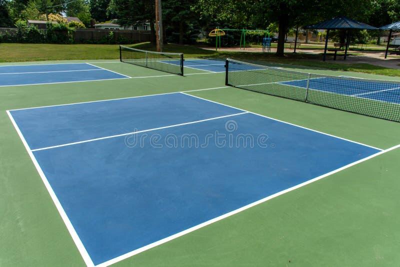 Deporte recreativo de la corte del pickleball en Michigan, los E.E.U.U. que miran un azul vacío y una nueva corte verde un parque fotografía de archivo libre de regalías