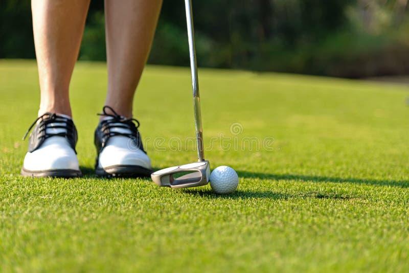 Deporte sano Cierre encima del foco deportivo de la mujer del asiático del golfista que pone la pelota de golf en el golf verde e imagenes de archivo