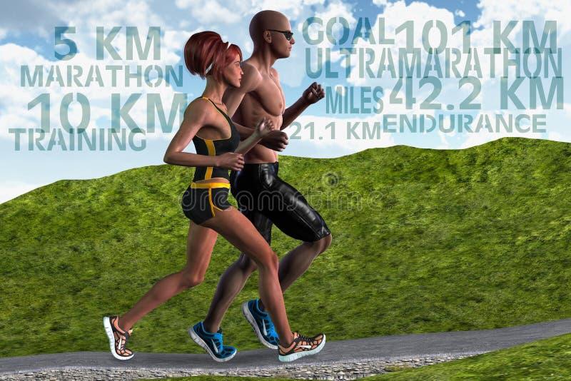 Deportes corrientes de la resistencia del entrenamiento de la mujer del hombre de los pares ilustración del vector