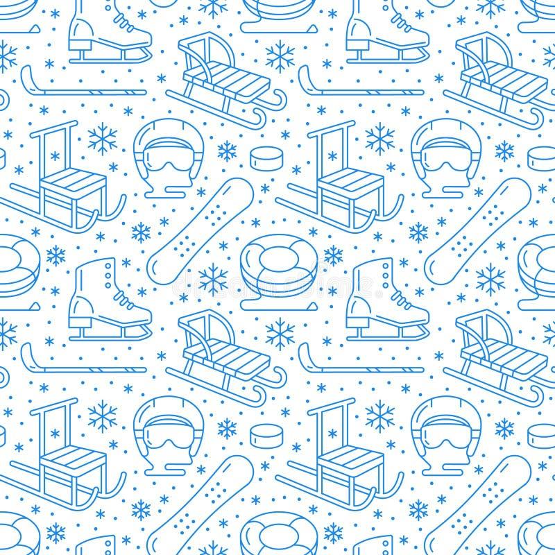Deportes de invierno modelo inconsútil azul, alquiler de equipo ilustración del vector