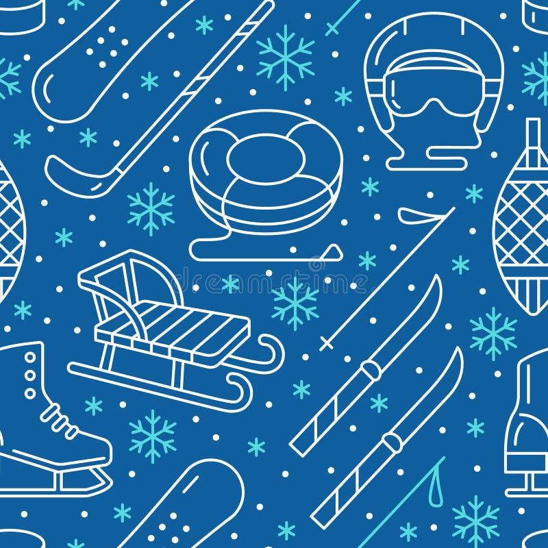 Deportes de invierno modelo inconsútil azul marino, alquiler de equipo ilustración del vector