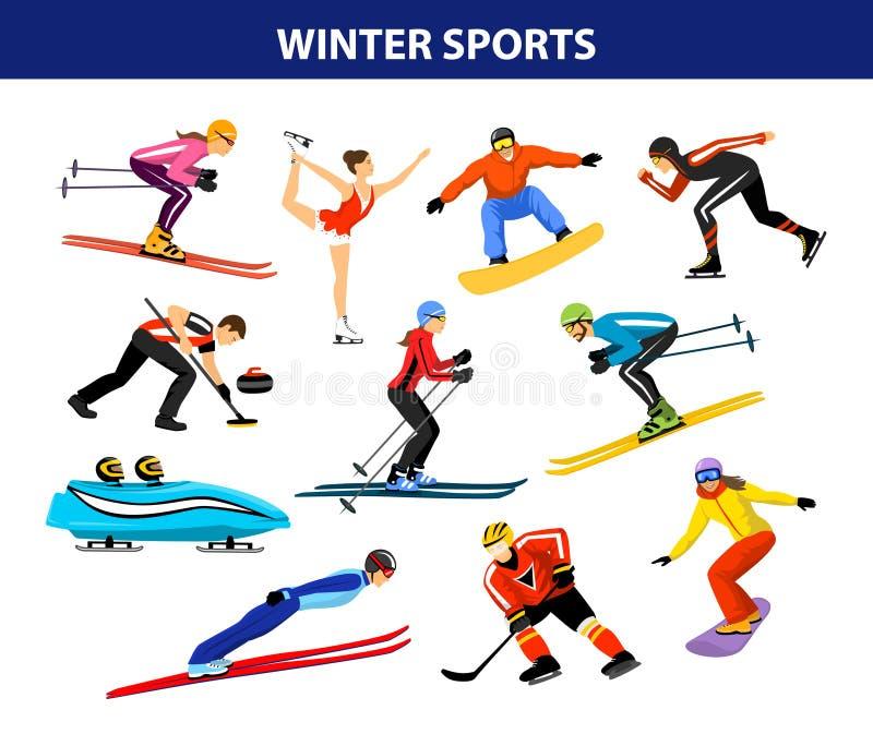 Deportes de la nieve del hielo del invierno fijados ilustración del vector