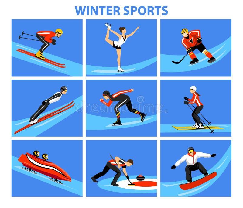 Deportes de la nieve del hielo del invierno fijados stock de ilustración