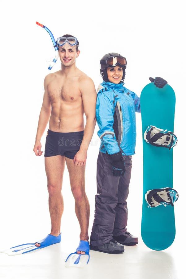 Deportes del invierno y del verano imagenes de archivo