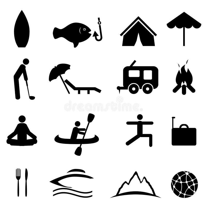 Deportes e iconos de la reconstrucción ilustración del vector