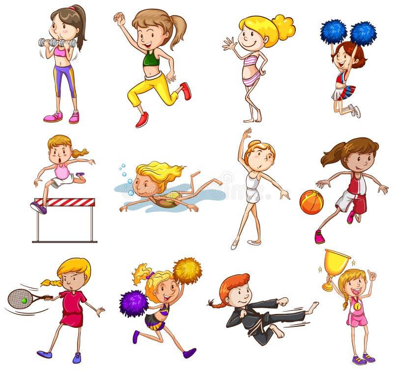 Deportes fijados ilustración del vector