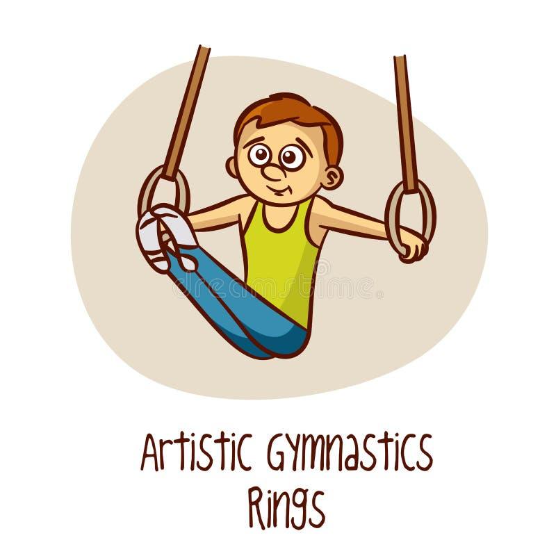 Deportes olímpicos del verano Anillos artísticos de la gimnasia ilustración del vector