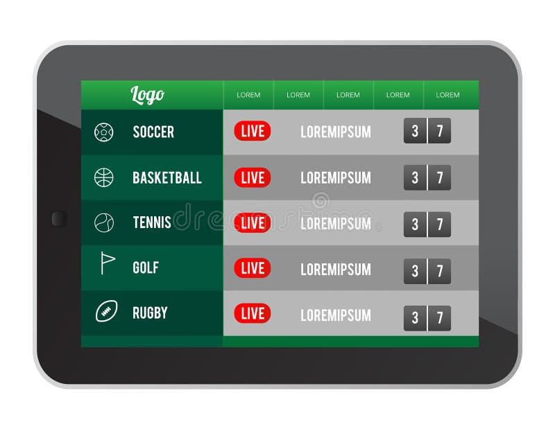 Deportes que apuestan el app a vector de la pantalla de la tableta libre illustration