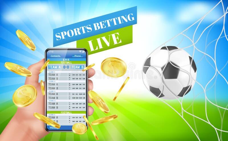 Deportes que apuestan el servicio de aplicación apostado vivo de la bandera stock de ilustración