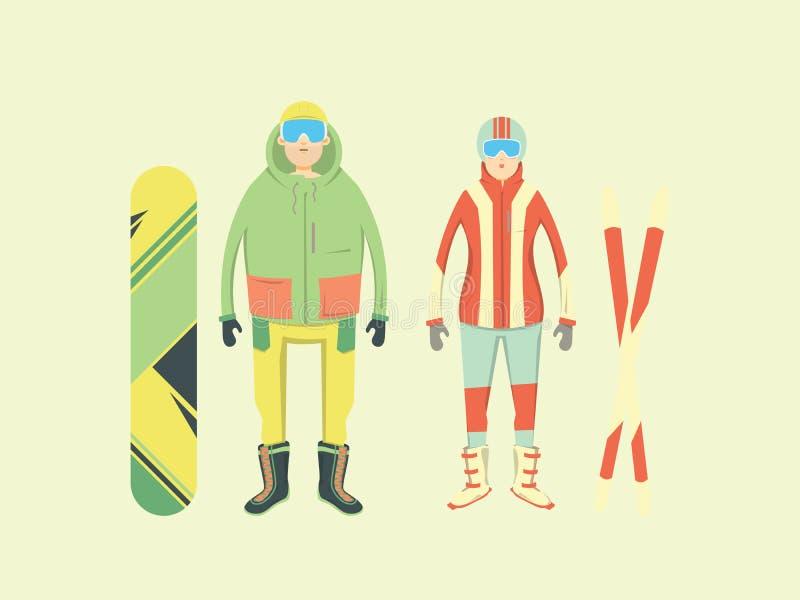 Deportes y aventura extremos de invierno en montañas Hombres y mujeres con una snowboard y los esquís ilustración del vector