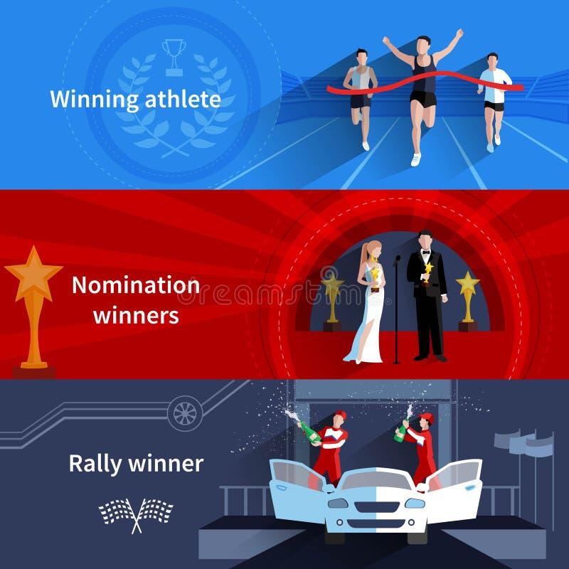 Deportes y banderas de los ganadores del nombramiento fijadas libre illustration
