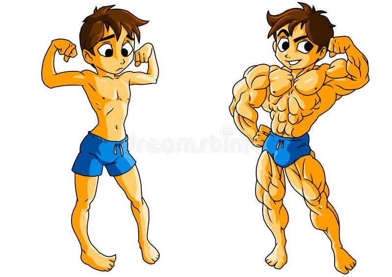 Deportista al entrenamiento y después de un entrenamiento libre illustration